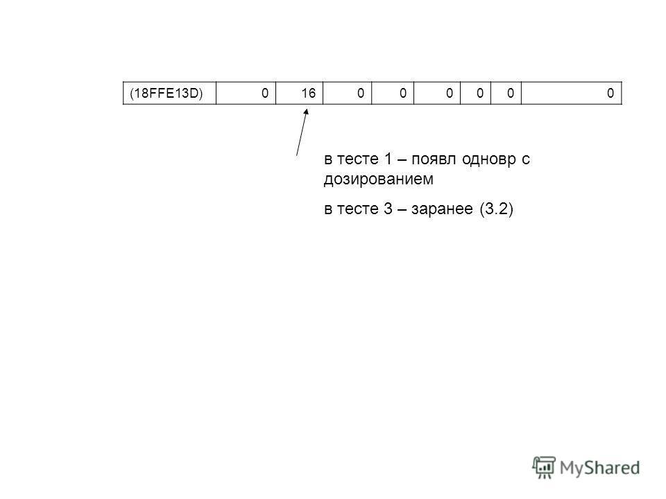 (18FFE13D)016000000 в тесте 1 – появл одновр с дозированием в тесте 3 – заранее (3.2)