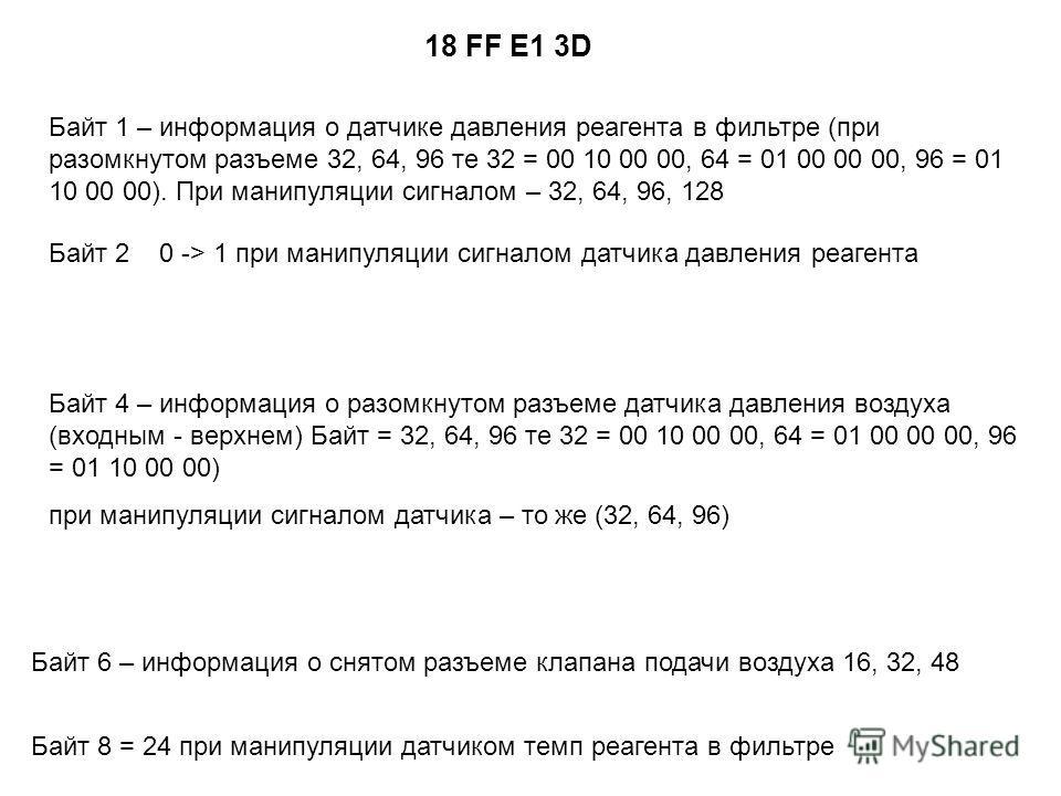 18 FF E1 3D Байт 1 – информация о датчике давления реагента в фильтре (при разомкнутом разъеме 32, 64, 96 те 32 = 00 10 00 00, 64 = 01 00 00 00, 96 = 01 10 00 00). При манипуляции сигналом – 32, 64, 96, 128 Байт 4 – информация о разомкнутом разъеме д