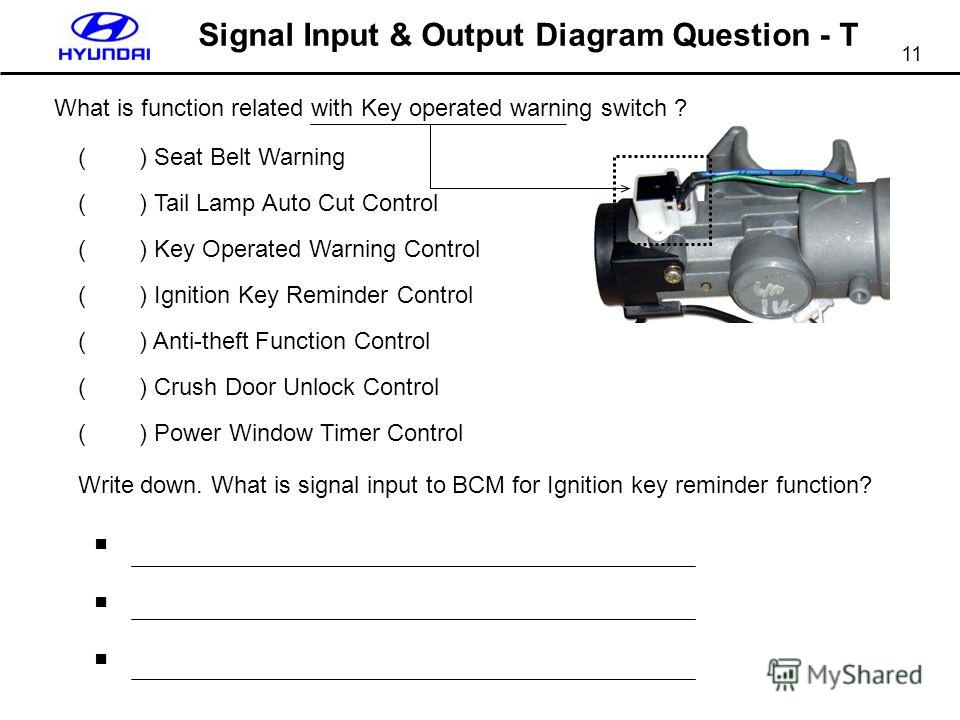 11 Signal Input & Output Diagram Question - T What is function related with Key operated warning switch ? ( ) Seat Belt Warning ( ) Tail Lamp Auto Cut Control ( ) Key Operated Warning Control ( ) Ignition Key Reminder Control ( ) Anti-theft Function