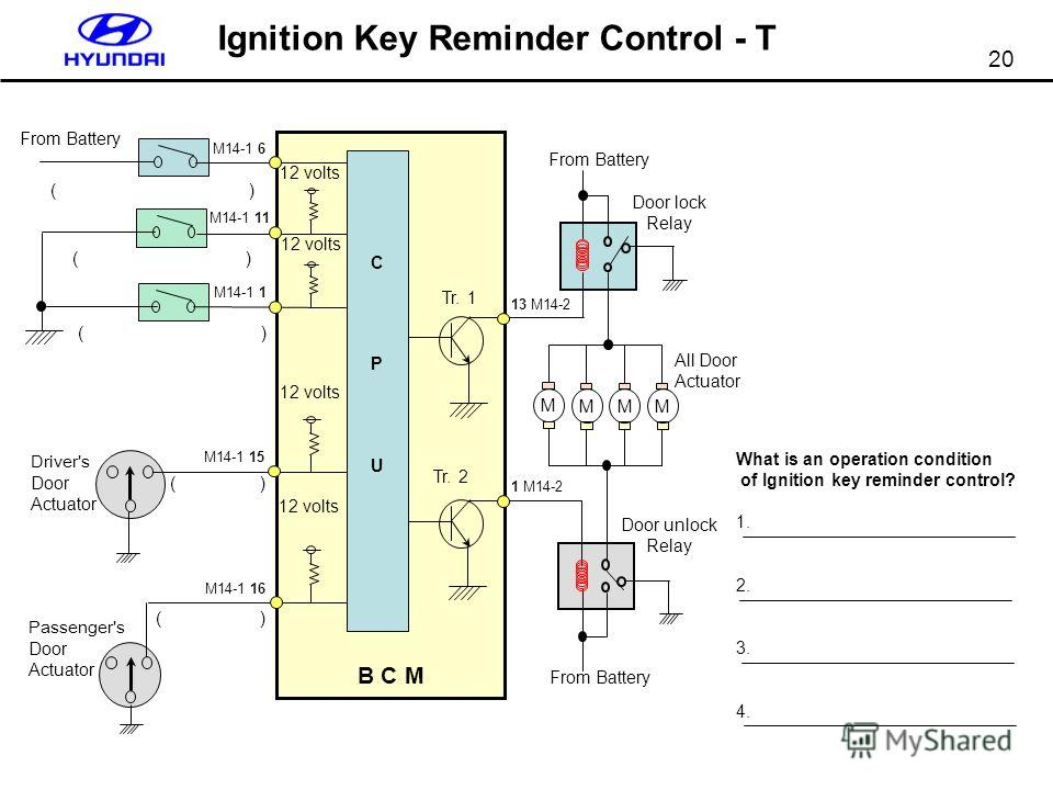 20 Ignition Key Reminder Control - T What is an operation condition of Ignition key reminder control? 1. 2. 3. 4.