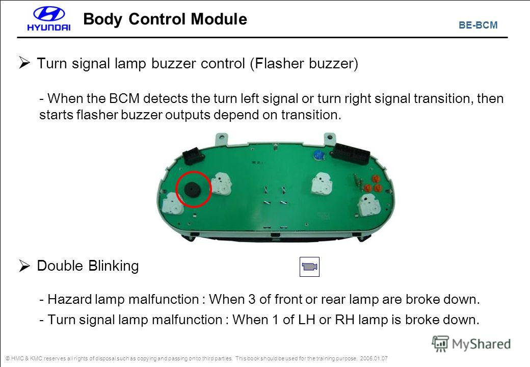 BE-BCM © HMC & KMC reserves all rights of disposal such as copying and passing on to third parties. This book should be used for the training purpose. 2005.01.07 Body Control Module - Hazard lamp malfunction : When 3 of front or rear lamp are broke d