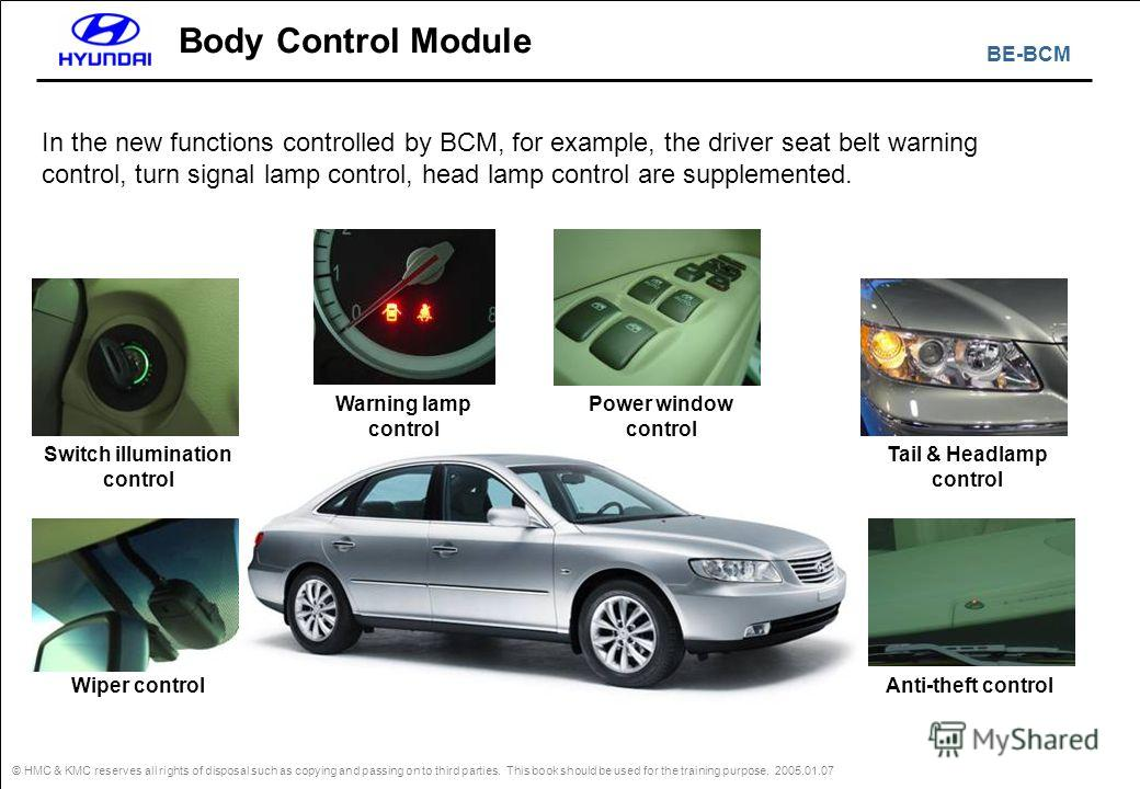 BE-BCM © HMC & KMC reserves all rights of disposal such as copying and passing on to third parties. This book should be used for the training purpose. 2005.01.07 Body Control Module In the new functions controlled by BCM, for example, the driver seat