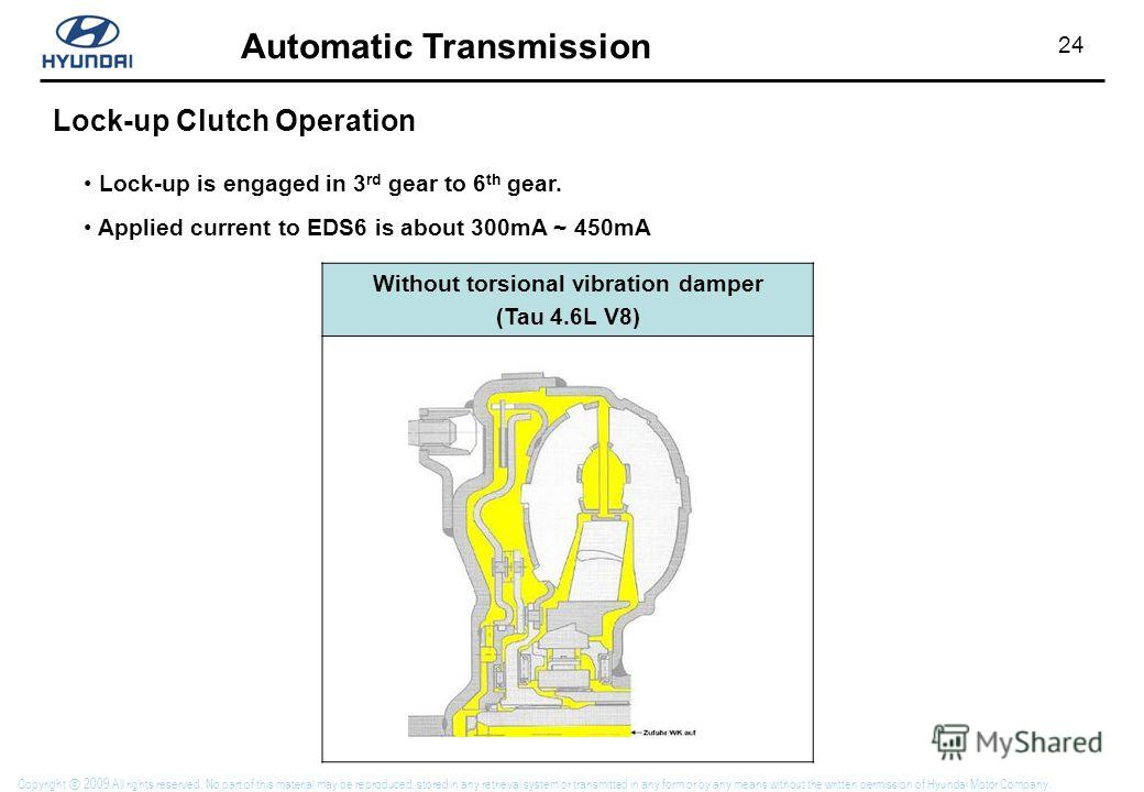 24 Automatic Transmission Copyright 2009 All rights reserved. No part of this material may be reproduced, stored in any retrieval system or transmitted in any form or by any means without the written permission of Hyundai Motor Company. Without torsi
