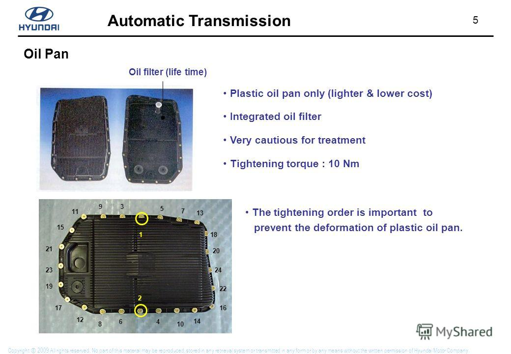5 Automatic Transmission Copyright 2009 All rights reserved. No part of this material may be reproduced, stored in any retrieval system or transmitted in any form or by any means without the written permission of Hyundai Motor Company. Oil Pan Oil fi