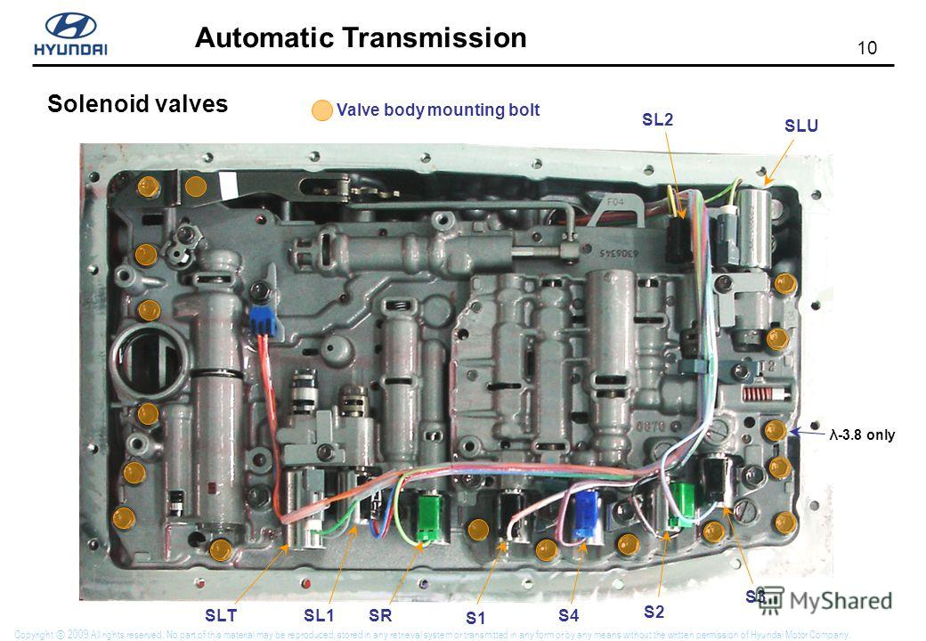 10 Automatic Transmission Copyright 2009 All rights reserved. No part of this material may be reproduced, stored in any retrieval system or transmitted in any form or by any means without the written permission of Hyundai Motor Company. Solenoid valv
