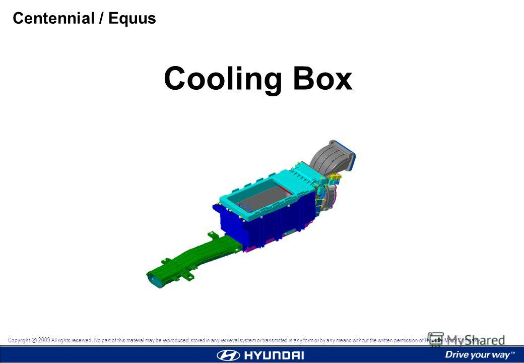 Cooling Box Centennial / Equus Copyright 2009 All rights reserved. No part of this material may be reproduced, stored in any retrieval system or transmitted in any form or by any means without the written permission of Hyundai Motor Company.