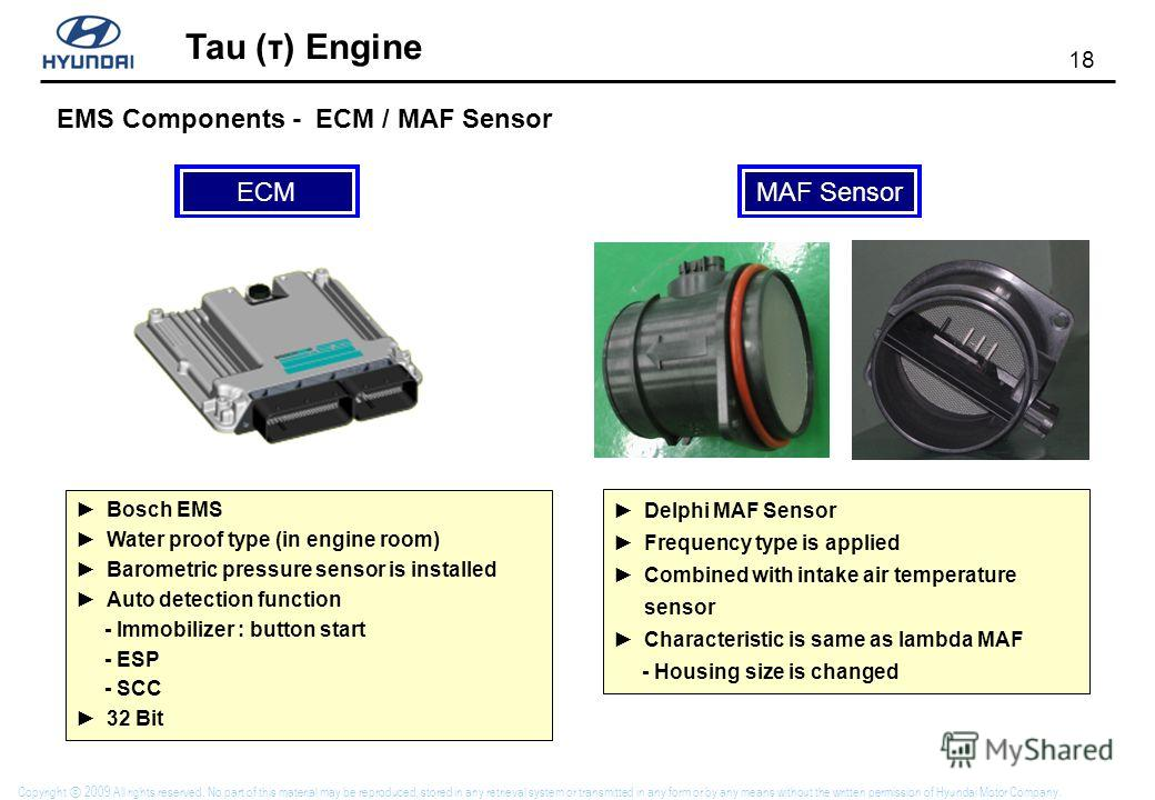 18 Tau (τ) Engine Copyright 2009 All rights reserved. No part of this material may be reproduced, stored in any retrieval system or transmitted in any form or by any means without the written permission of Hyundai Motor Company. EMS Components - ECM