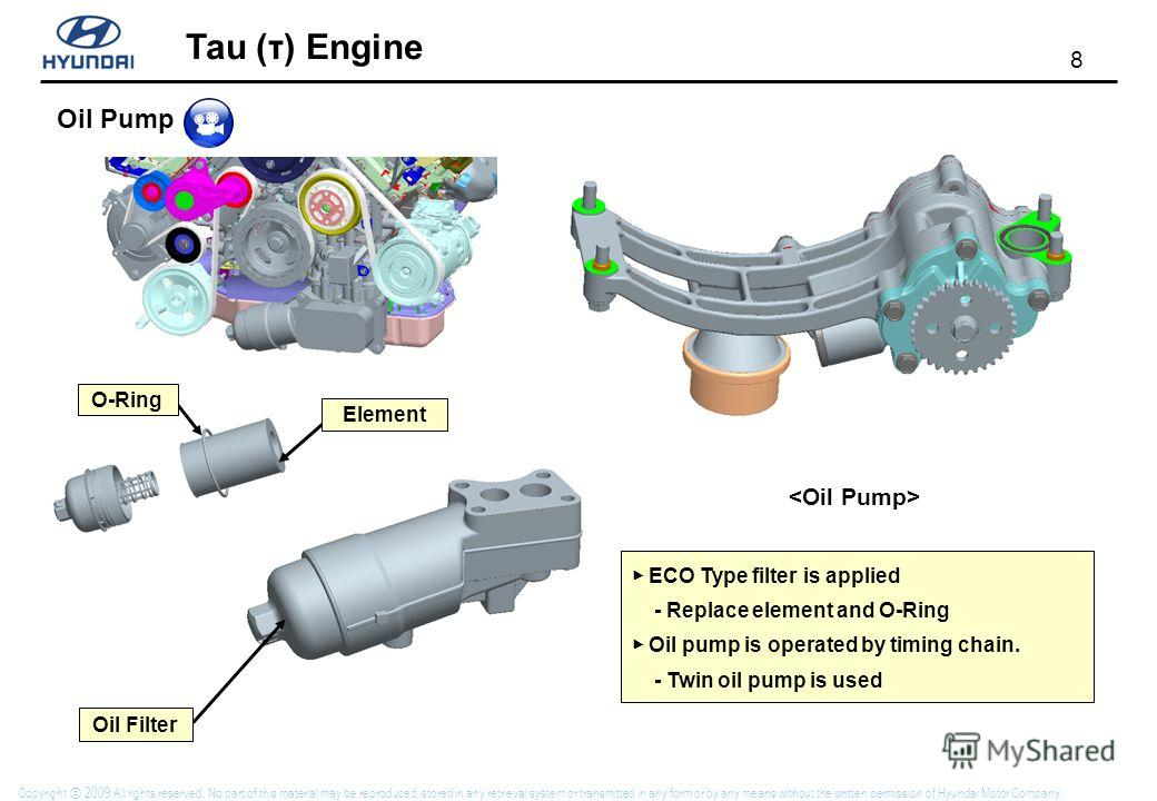 8 Tau (τ) Engine Copyright 2009 All rights reserved. No part of this material may be reproduced, stored in any retrieval system or transmitted in any form or by any means without the written permission of Hyundai Motor Company. Element O-Ring Oil Fil