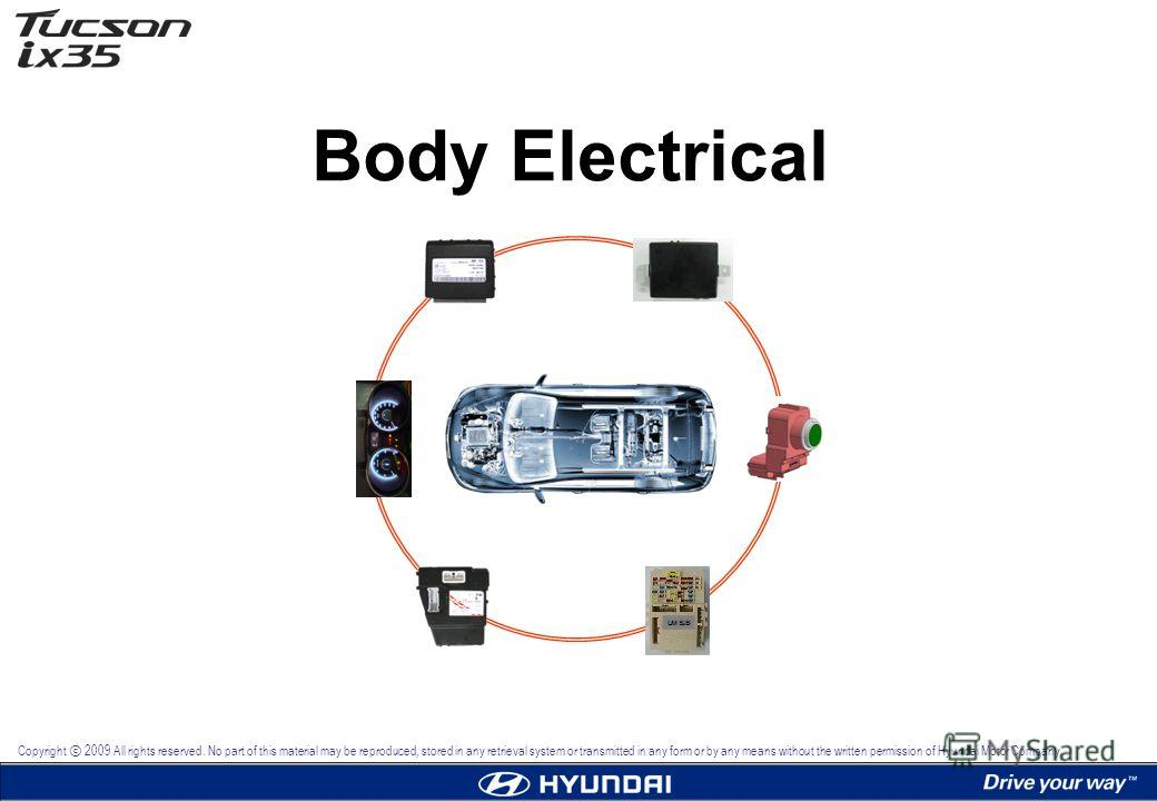 Body Electrical Copyright 2009 All rights reserved. No part of this material may be reproduced, stored in any retrieval system or transmitted in any form or by any means without the written permission of Hyundai Motor Company.