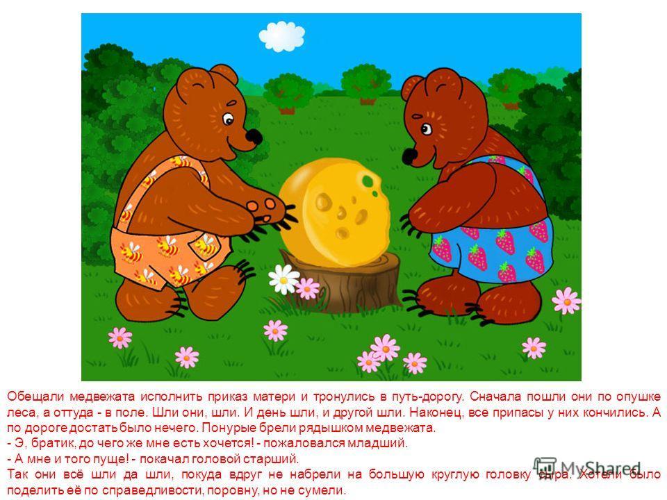 В густом лесу, в самой его чаще, жила старая медведица. У неё было два сына. Когда медвежата подросли, решили они пойти по белу свету искать счастья. Поначалу пошли они к матери и, как положено, распрощались с ней. Обняла старая медведица сыновей и п