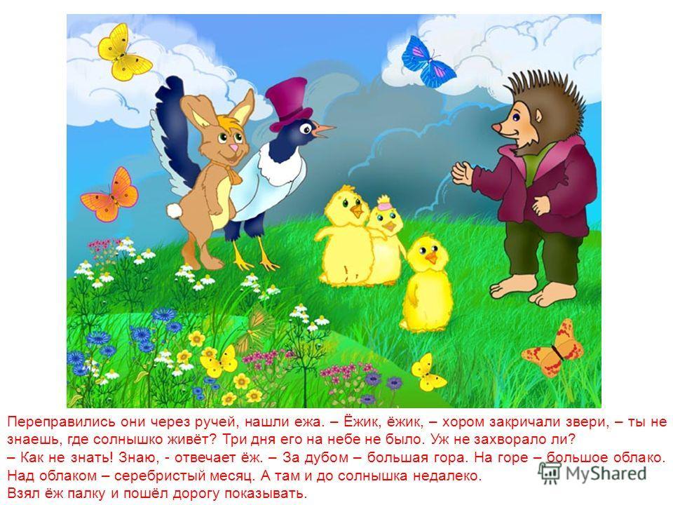 Пришли они к зайцу. – Заяц, заяц, - запищали цыплята, затараторила сорока, - не знаешь, где солнышко живет? Мы его ищем. – Я-то не знаю, а вот за ручьём ёж живет – он знает.