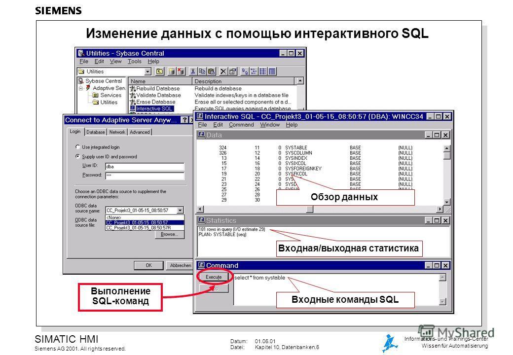 Datum:01.06.01 Datei:Kapitel 10, Datenbanken.6 SIMATIC HMI Siemens AG 2001. All rights reserved. Informations- und Trainings-Center Wissen für Automatisierung Изменение данных с помощью интерактивного SQL Входные команды SQL Входная/выходная статисти