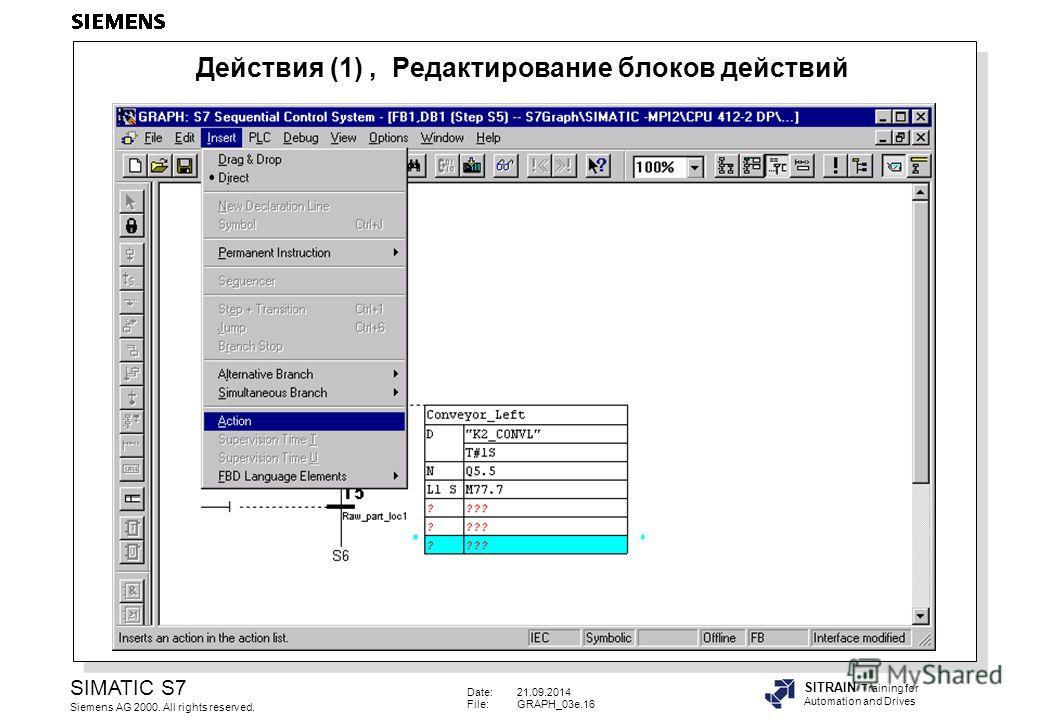 Date:21.09.2014 File:GRAPH_03e.16 SIMATIC S7 Siemens AG 2000. All rights reserved. SITRAIN Training for Automation and Drives Действия (1), Редактирование блоков действий