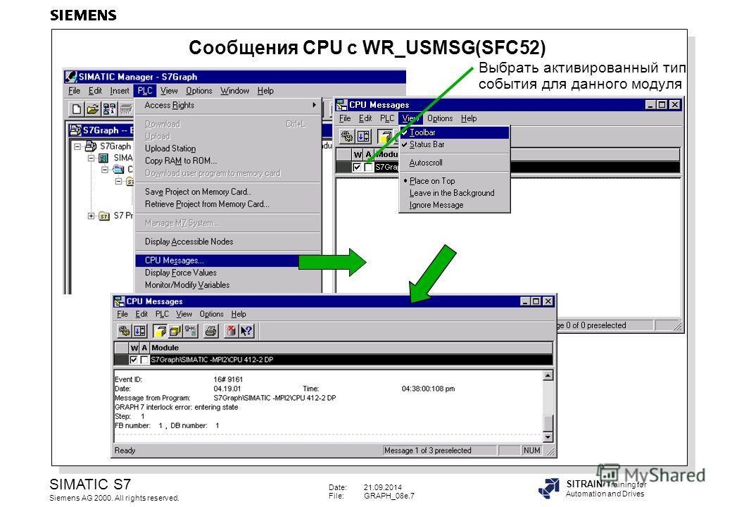 Date:21.09.2014 File:GRAPH_08e.7 SIMATIC S7 Siemens AG 2000. All rights reserved. SITRAIN Training for Automation and Drives Выбрать активированный тип события для данного модуля Сообщения CPU с WR_USMSG(SFC52)