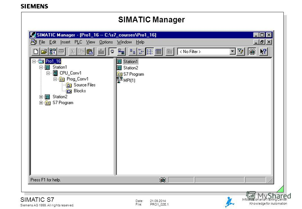 Date:21.09.2014 File:PRO1_02E.1 SIMATIC S7 Siemens AG 1999. All rights reserved. Information and Training Center Knowledge for Automation SIMATIC Manager