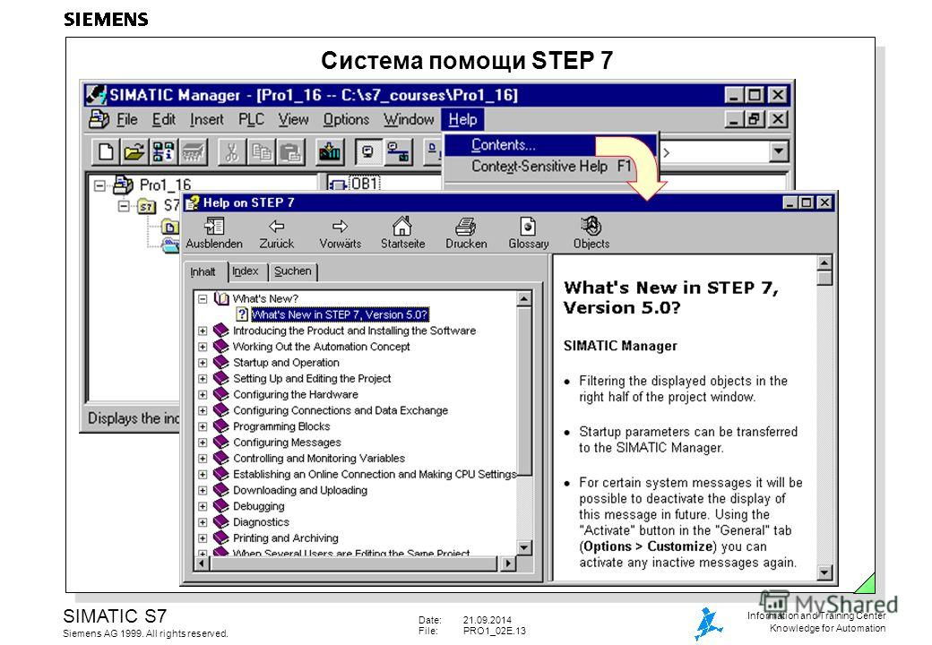 Date:21.09.2014 File:PRO1_02E.13 SIMATIC S7 Siemens AG 1999. All rights reserved. Information and Training Center Knowledge for Automation Система помощи STEP 7