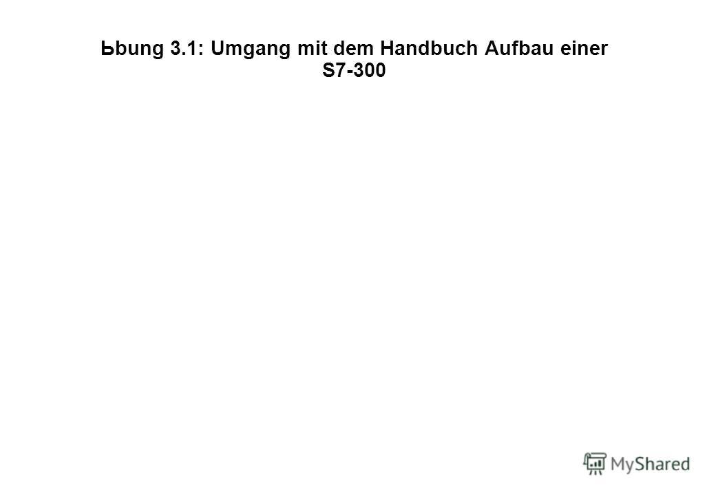 Ьbung 3.1: Umgang mit dem Handbuch Aufbau einer S7-300