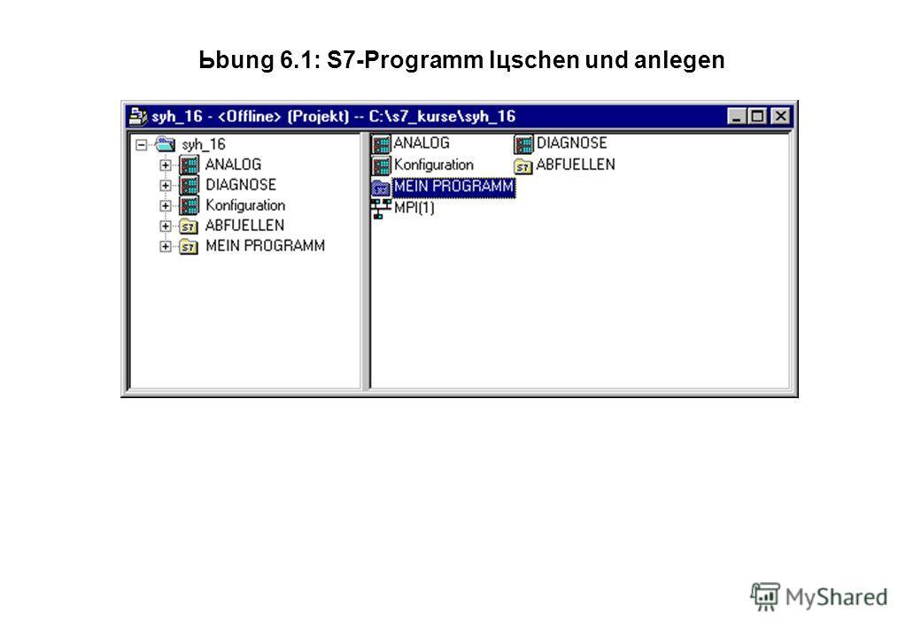 Ьbung 6.1: S7-Programm lцschen und anlegen