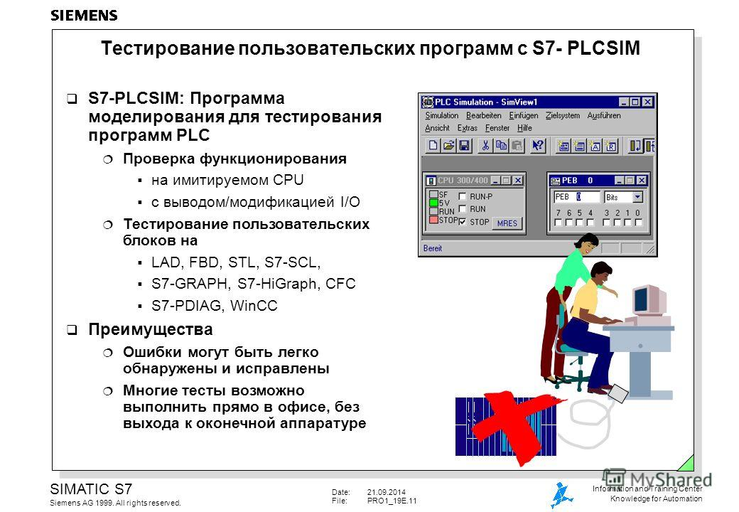 Date:21.09.2014 File:PRO1_19E.11 SIMATIC S7 Siemens AG 1999. All rights reserved. Information and Training Center Knowledge for Automation Тестирование пользовательских программ с S7- PLCSIM S7-PLCSIM: Программа моделирования для тестирования програм