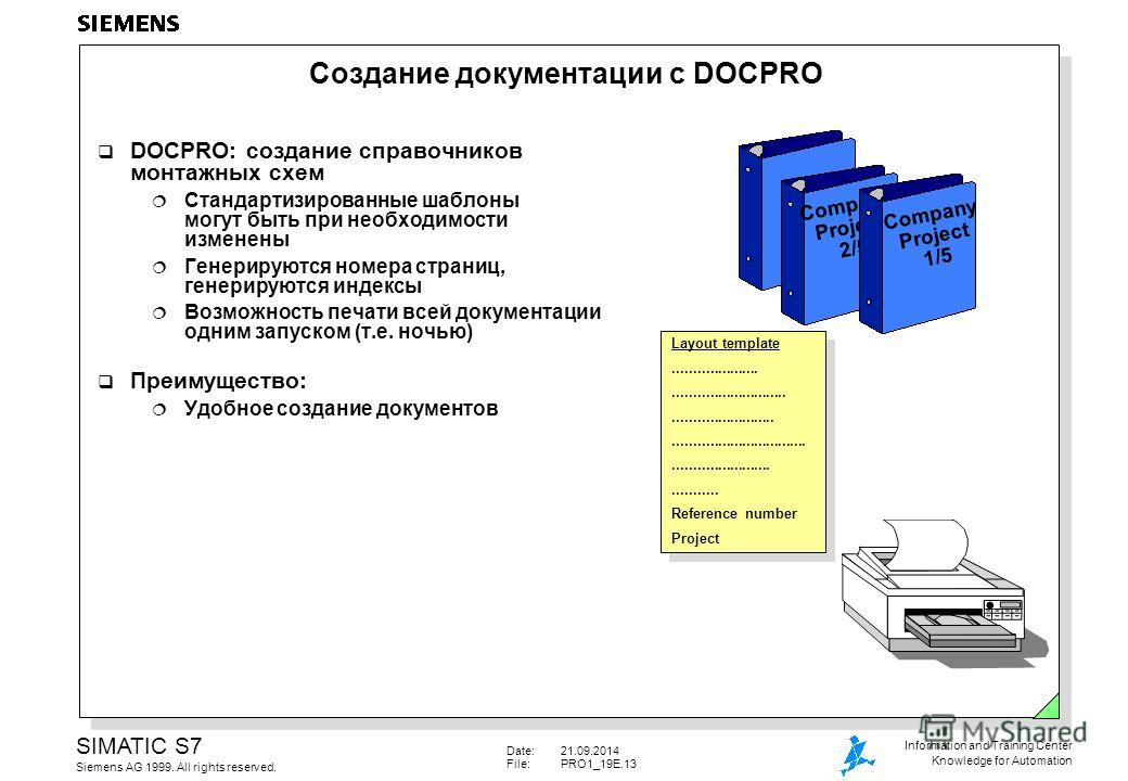 Date:21.09.2014 File:PRO1_19E.13 SIMATIC S7 Siemens AG 1999. All rights reserved. Information and Training Center Knowledge for Automation Создание документации с DOCPRO DOCPRO: создание справочников монтажных схем Стандартизированные шаблоны могут б
