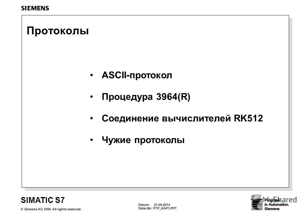 Datum: 21.09.2014 Datei.Nr:PTP_KAP1. PPT SIMATIC S7 © Siemens AG 1996. All rights reserved. Протоколы ASCII-протокол Процедура 3964(R) Соединение вычислителей RK512 Чужие протоколы