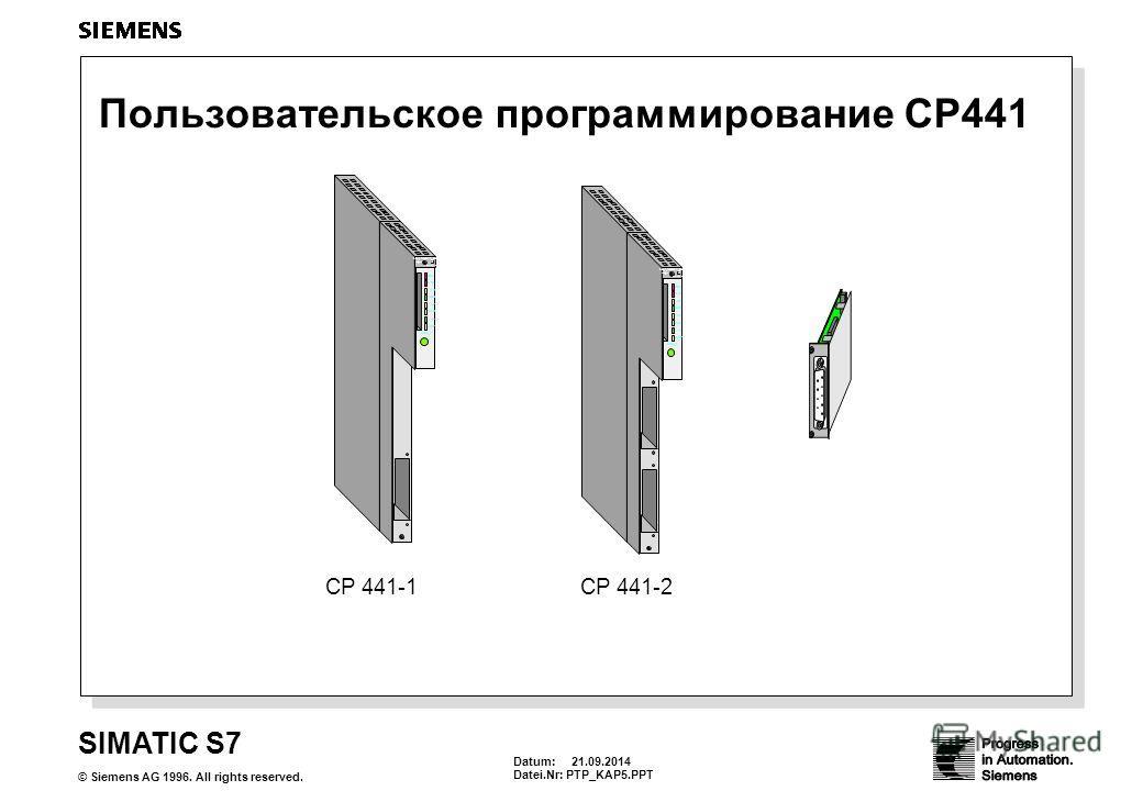 Datum: 21.09.2014 Datei.Nr: PTP_KAP5. PPT SIMATIC S7 © Siemens AG 1996. All rights reserved. Пользовательское программирование CP441 643-1QA11-0AX0 3 ATB 386SX 12 43 INTF EXF RUN STOP RUN_P SD HDD S2 USR CP 441-1CP 441-2 643-1QA11-0AX0 3 ATB 386SX 12