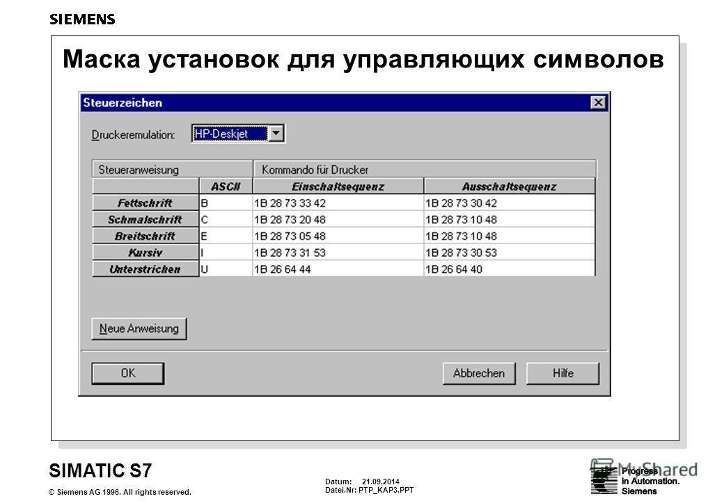 Datum: 21.09.2014 Datei.Nr: PTP_KAP3. PPT SIMATIC S7 © Siemens AG 1996. All rights reserved. Маска установок для управляющих символов