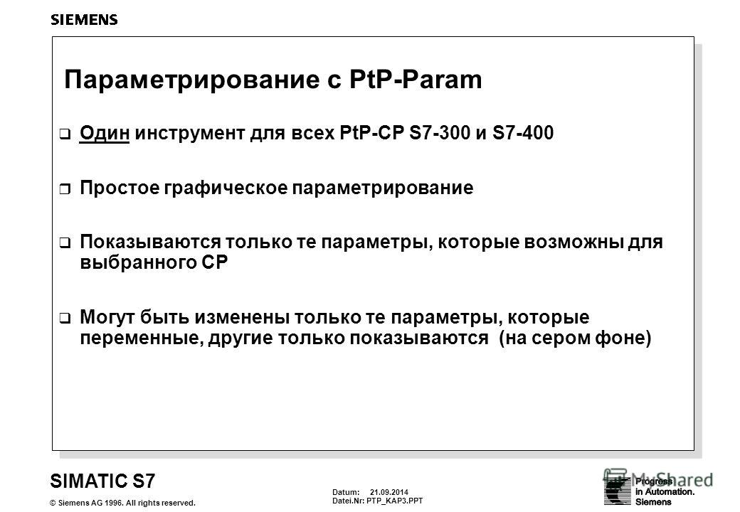 Datum: 21.09.2014 Datei.Nr: PTP_KAP3. PPT SIMATIC S7 © Siemens AG 1996. All rights reserved. Параметрирование с PtP-Param Один инструмент для всех PtP-CP S7-300 и S7-400 Простое графическое параметрирование Показываются только те параметры, которые в