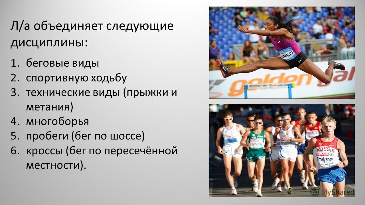 Л/a объединяет следующие дисциплины: 1. беговые виды 2. спортивную ходьбу 3. технические виды (прыжки и метания) 4. многоборья 5. пробеги (бег по шоссе) 6. кроссы (бег по пересечённой местности).