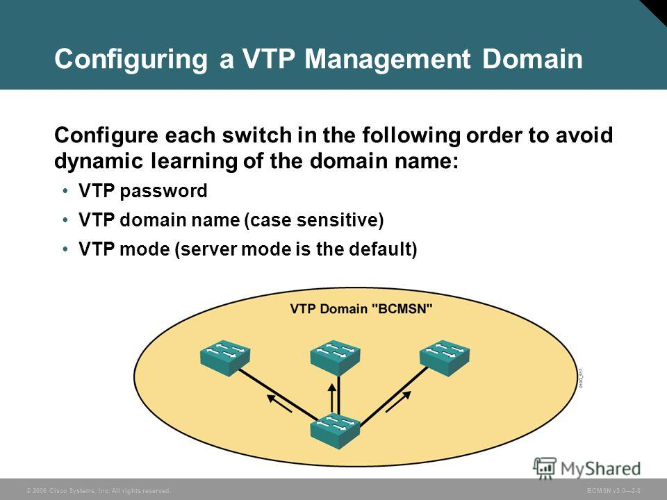 © 2006 Cisco Systems, Inc. All rights reserved.BCMSN v3.02-8 Configuring a VTP Management Domain Configure each switch in the following order to avoid dynamic learning of the domain name: VTP password VTP domain name (case sensitive) VTP mode (server