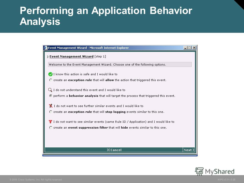 © 2006 Cisco Systems, Inc. All rights reserved. HIPS v3.05-28 Performing an Application Behavior Analysis