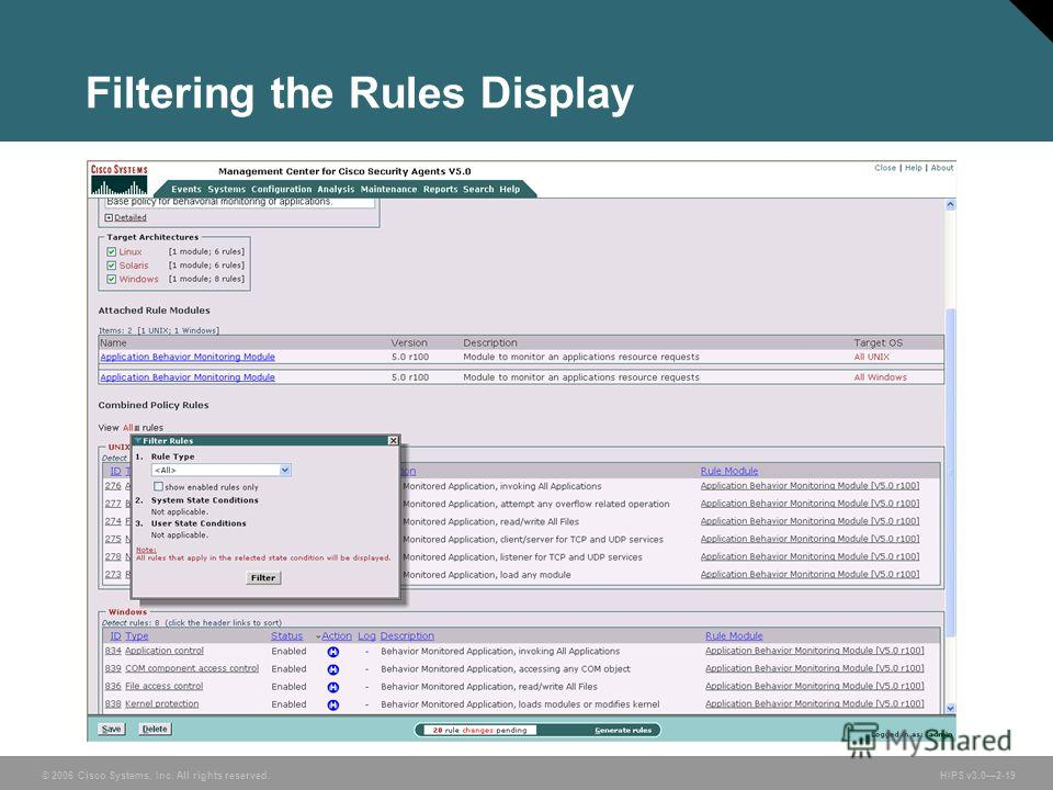 © 2006 Cisco Systems, Inc. All rights reserved. HIPS v3.02-19 Filtering the Rules Display
