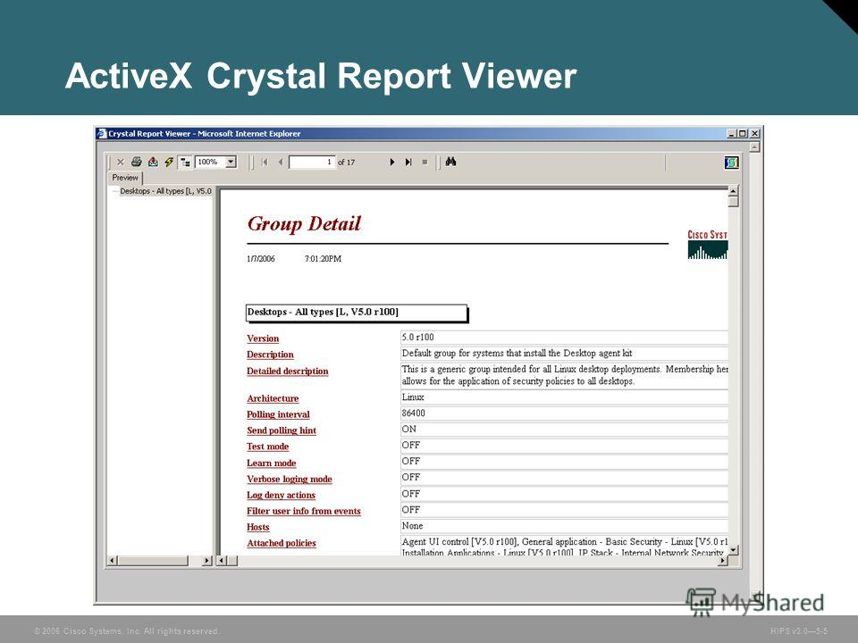 © 2006 Cisco Systems, Inc. All rights reserved. HIPS v3.05-5 ActiveX Crystal Report Viewer