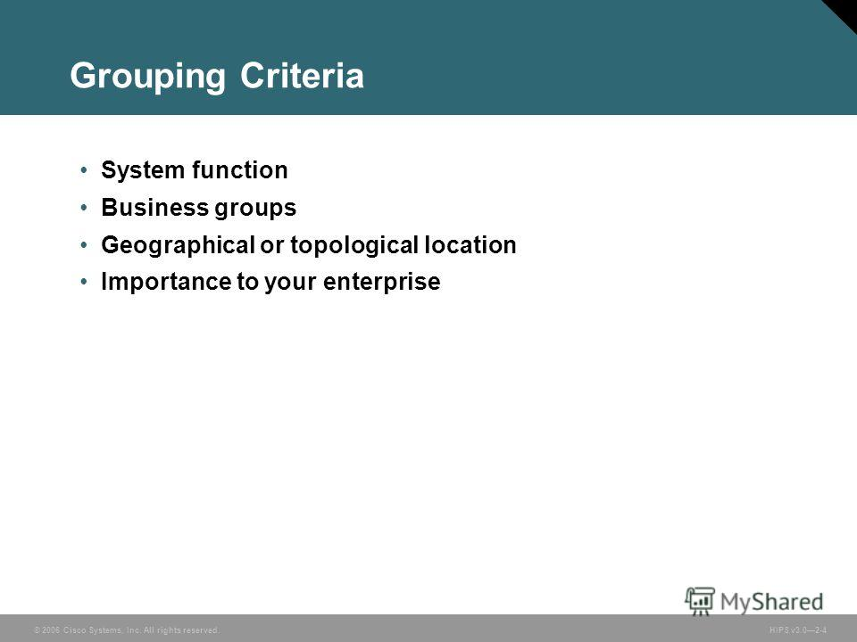© 2006 Cisco Systems, Inc. All rights reserved. HIPS v3.02-4 Grouping Criteria System function Business groups Geographical or topological location Importance to your enterprise