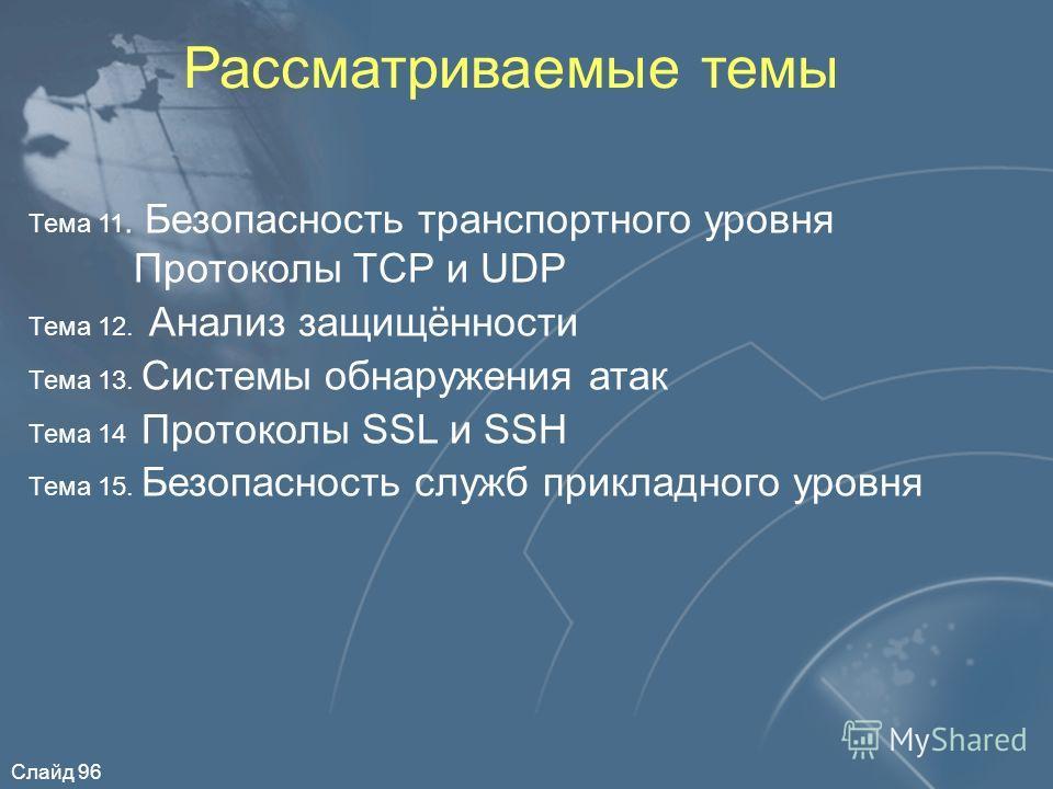Слайд 96 Рассматриваемые темы Тема 11. Безопасность транспортного уровня Протоколы TCP и UDP Тема 12. Анализ защищённости Тема 13. Системы обнаружения атак Тема 14 Протоколы SSL и SSH Тема 15. Безопасность служб прикладного уровня