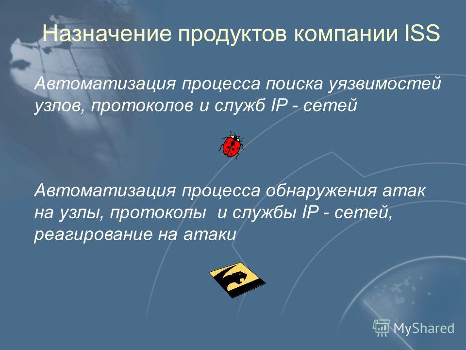Назначение продуктов компании ISS Автоматизация процесса поиска уязвимостей узлов, протоколов и служб IP - сетей Автоматизация процесса обнаружения атак на узлы, протоколы и службы IP - сетей, реагирование на атаки