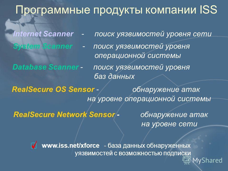 Программные продукты компании ISS Internet Scanner - поиск уязвимостей уровня сети System Scanner - поиск уязвимостей уровня операционной системы RealSecure OS Sensor - обнаружение атак на уровне операционной системы RealSecure Network Sensor - обнар