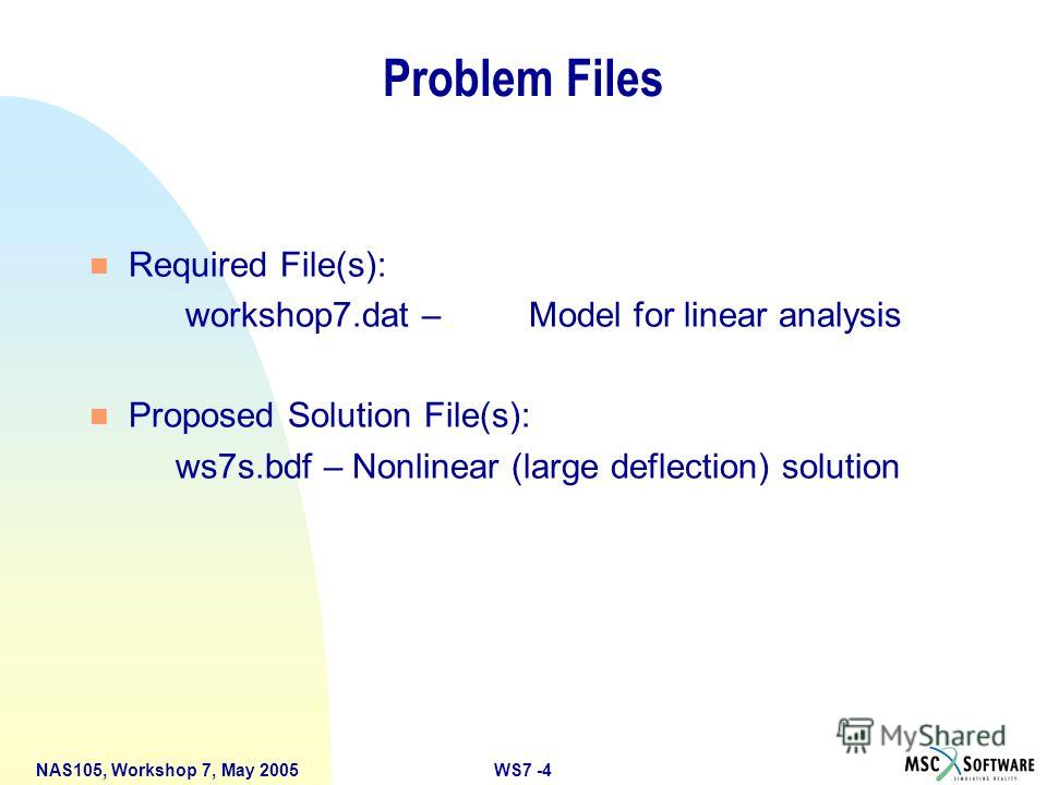 WS7 -4NAS105, Workshop 7, May 2005 Problem Files n Required File(s): workshop7. dat – Model for linear analysis n Proposed Solution File(s): ws7s.bdf – Nonlinear (large deflection) solution