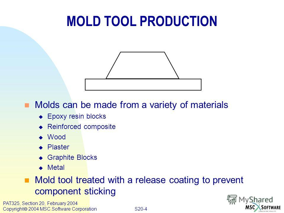 S20-4 PAT325, Section 20, February 2004 Copyright 2004 MSC.Software Corporation MOLD TOOL PRODUCTION n Molds can be made from a variety of materials u Epoxy resin blocks u Reinforced composite u Wood u Plaster u Graphite Blocks u Metal n Mold tool tr