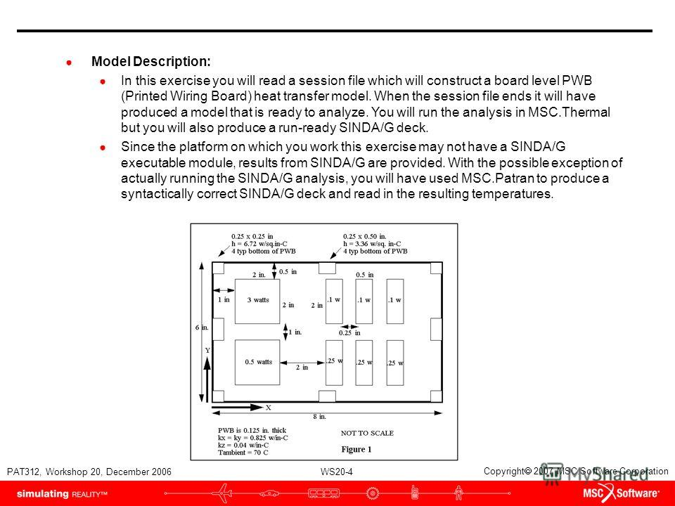 WS20-4 PAT312, Workshop 20, December 2006 Copyright 2007 MSC.Software Corporation Model Description: In this exercise you will read a session file which will construct a board level PWB (Printed Wiring Board) heat transfer model. When the session fil