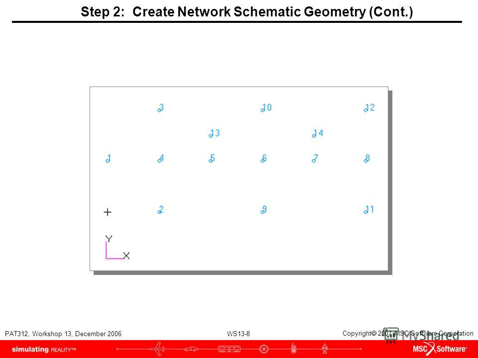 WS13-8 PAT312, Workshop 13, December 2006 Copyright 2007 MSC.Software Corporation Step 2: Create Network Schematic Geometry (Cont.)