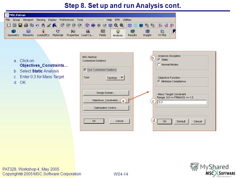 WS4-14 PAT328, Workshop 4, May 2005 Copyright 2005 MSC.Software Corporation Step 8. Set up and run Analysis cont. a.Click on Objectives_Constraints… b.Select Static Analysis c.Enter 0.3 for Mass Target d.OK a c b a d
