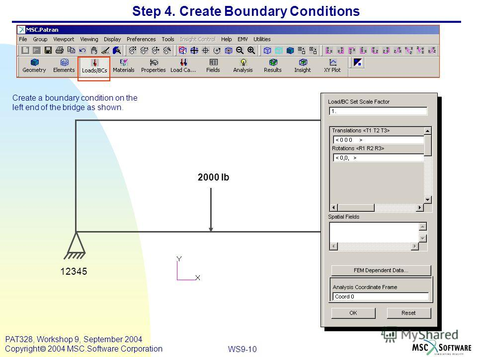 WS9-10 PAT328, Workshop 9, September 2004 Copyright 2004 MSC.Software Corporation Step 4. Create Boundary Conditions Create a boundary condition on the left end of the bridge as shown. 2000 lb 12345 2345