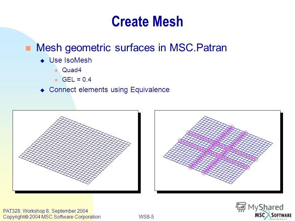 WS8-5 PAT328, Workshop 8, September 2004 Copyright 2004 MSC.Software Corporation Create Mesh Mesh geometric surfaces in MSC.Patran u Use IsoMesh Quad4 GEL = 0.4 u Connect elements using Equivalence
