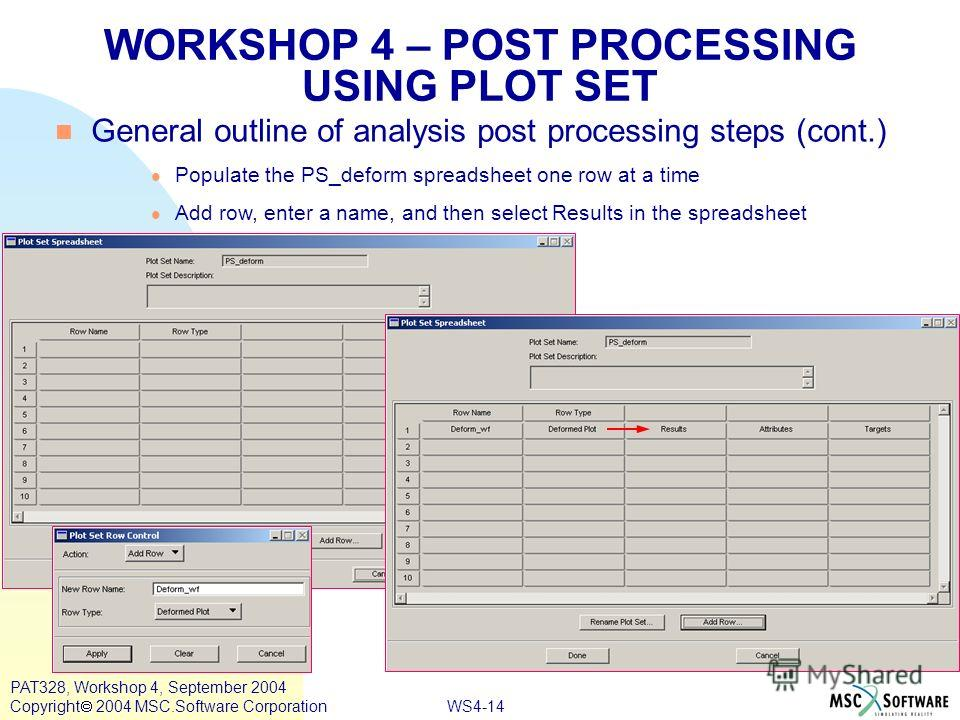 WS4-14 PAT328, Workshop 4, September 2004 Copyright 2004 MSC.Software Corporation WORKSHOP 4 – POST PROCESSING USING PLOT SET General outline of analysis post processing steps (cont.) Populate the PS_deform spreadsheet one row at a time Add row, ente