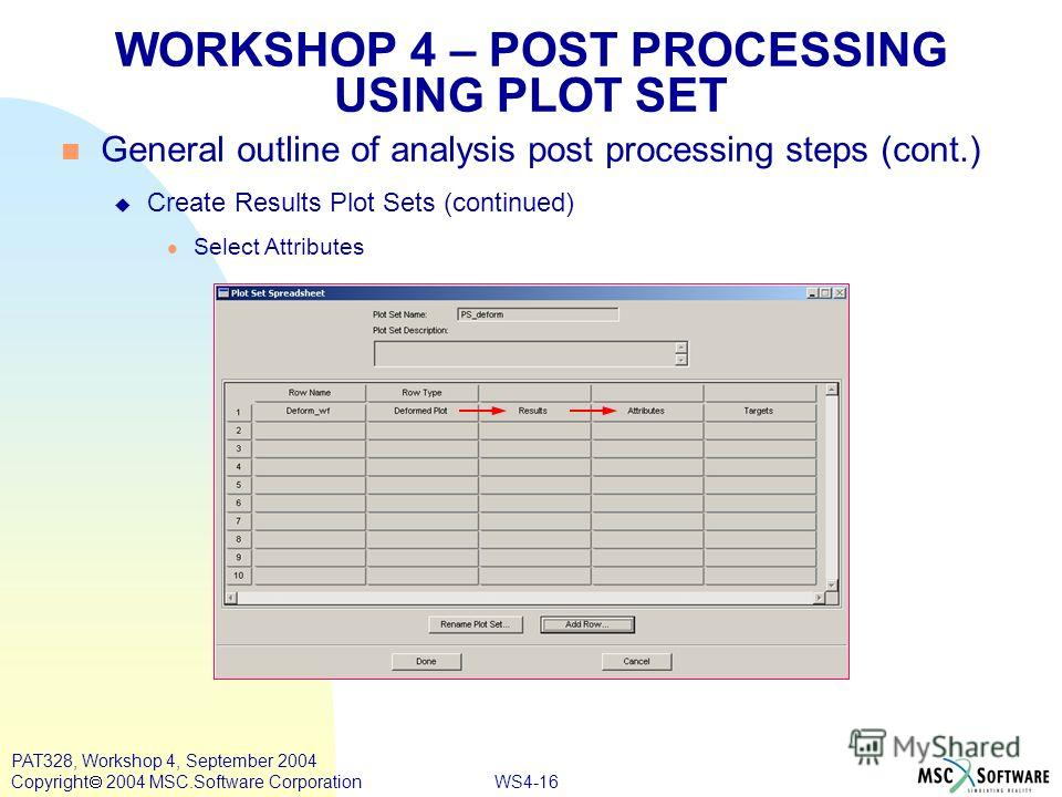 WS4-16 PAT328, Workshop 4, September 2004 Copyright 2004 MSC.Software Corporation WORKSHOP 4 – POST PROCESSING USING PLOT SET General outline of analysis post processing steps (cont.) Create Results Plot Sets (continued) Select Attributes