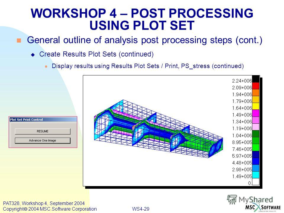 WS4-29 PAT328, Workshop 4, September 2004 Copyright 2004 MSC.Software Corporation WORKSHOP 4 – POST PROCESSING USING PLOT SET General outline of analysis post processing steps (cont.) Create Results Plot Sets (continued) Display results using Results