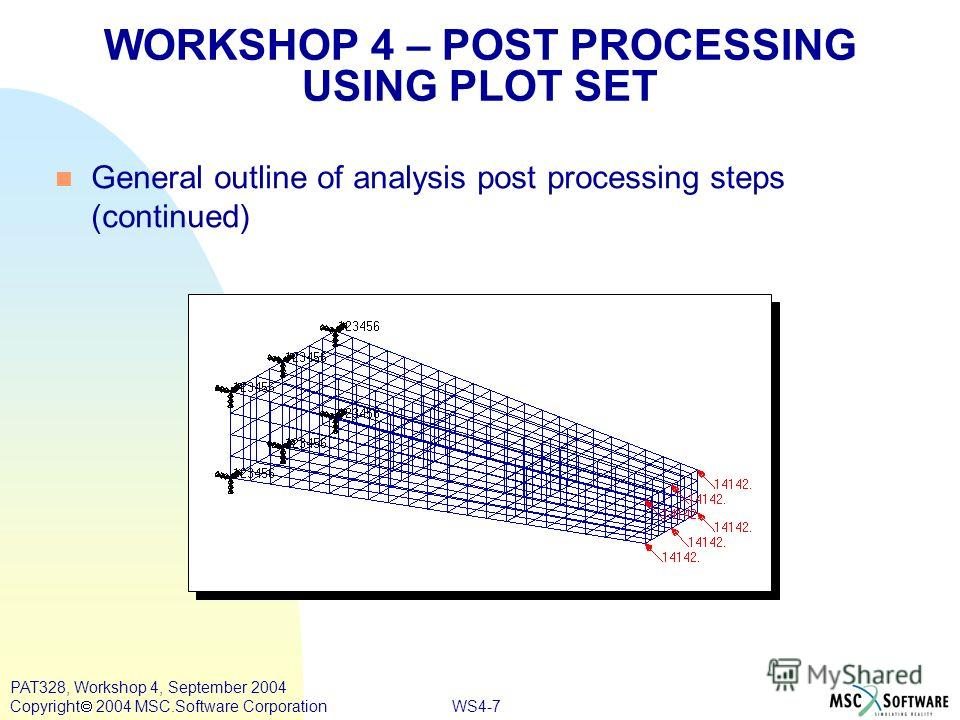 WS4-7 PAT328, Workshop 4, September 2004 Copyright 2004 MSC.Software Corporation General outline of analysis post processing steps (continued) WORKSHOP 4 – POST PROCESSING USING PLOT SET