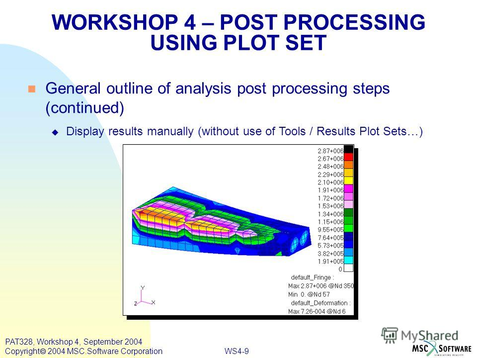 WS4-9 PAT328, Workshop 4, September 2004 Copyright 2004 MSC.Software Corporation General outline of analysis post processing steps (continued) Display results manually (without use of Tools / Results Plot Sets…) WORKSHOP 4 – POST PROCESSING USING PLO