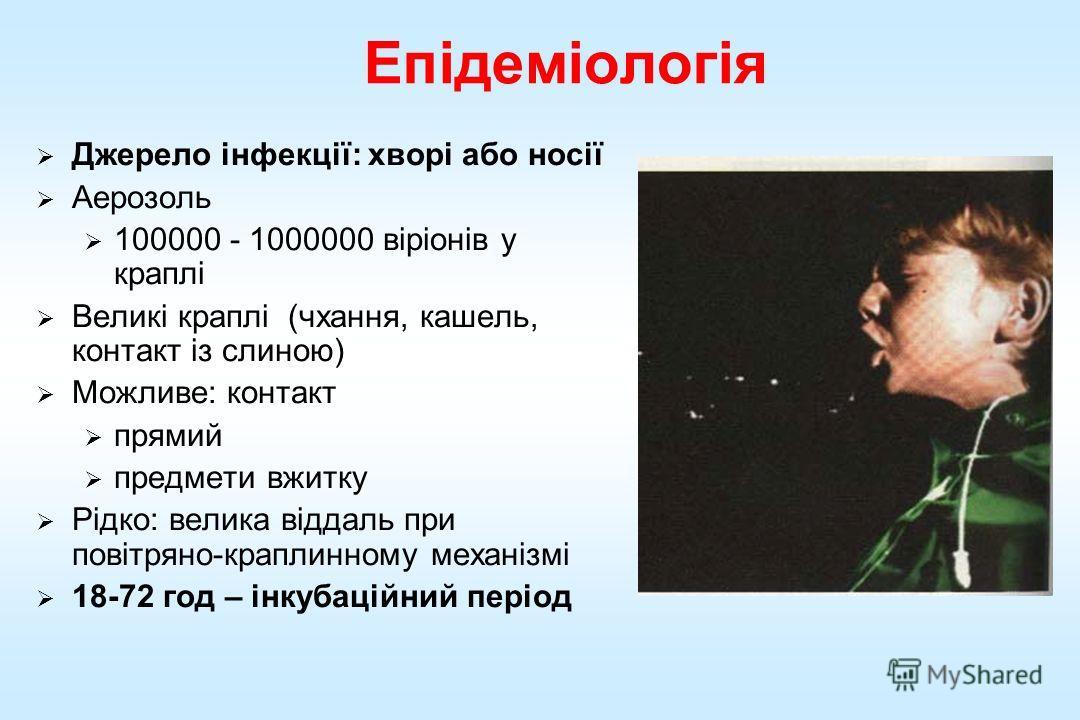 Епідеміологія Джерело інфекції: хворі обо носії Аерозоль 100000 - 1000000 віріонів у краплі Великі краплі (чхання, кашель, контакт із длиною) Можливе: контакт премий предметы вжитку Рідко: велика віддаль при повітряно-краплинному механізмі 18-72 год